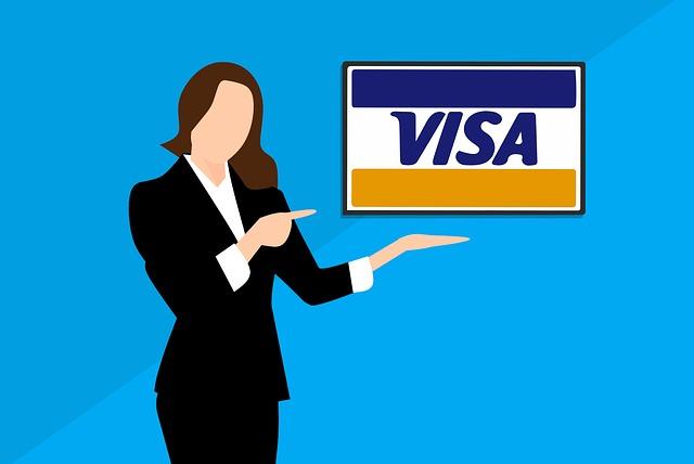 Woman presenting visa