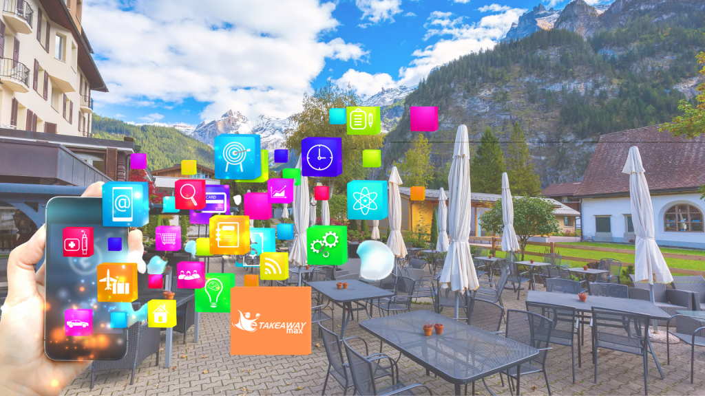 On the background is a restaurant's outdoor section with black tables and chairs. Also shows social media marketing icons and the logo of eTakeawayMax.