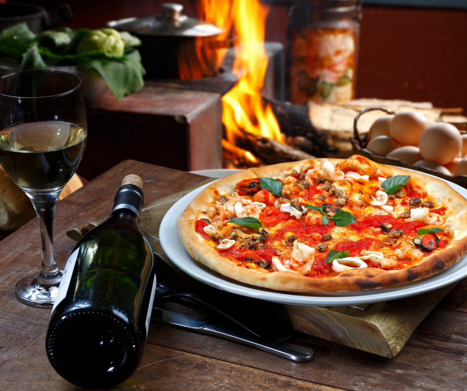 Pizza and wine would best go together.