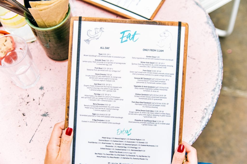 physical version of a restaurant's online menu